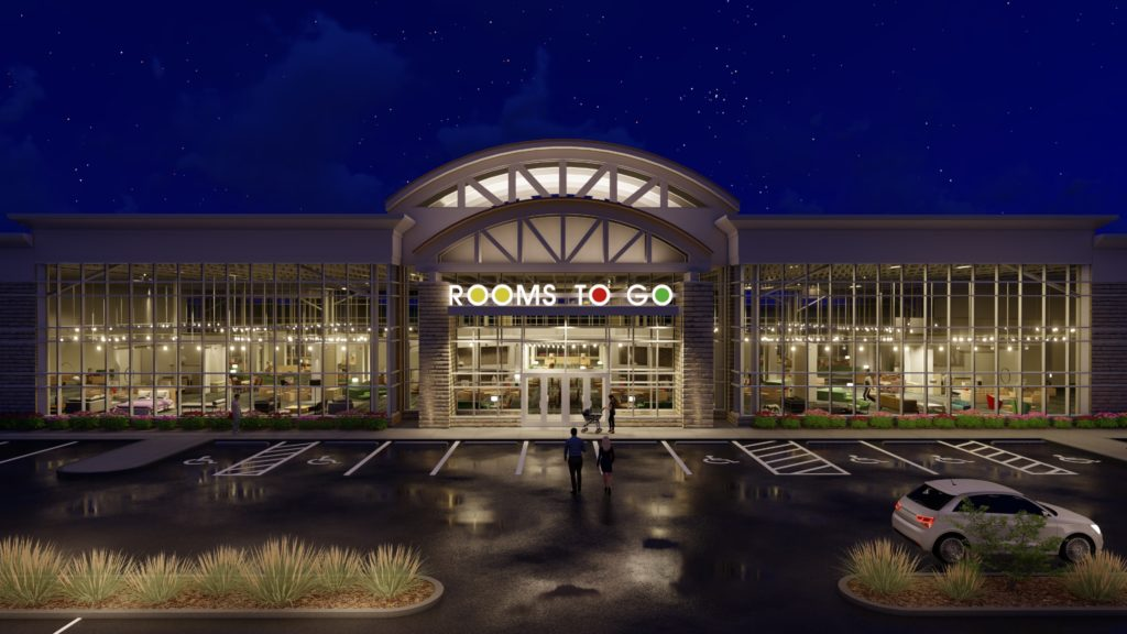 Rooms to Go storefront renderings
